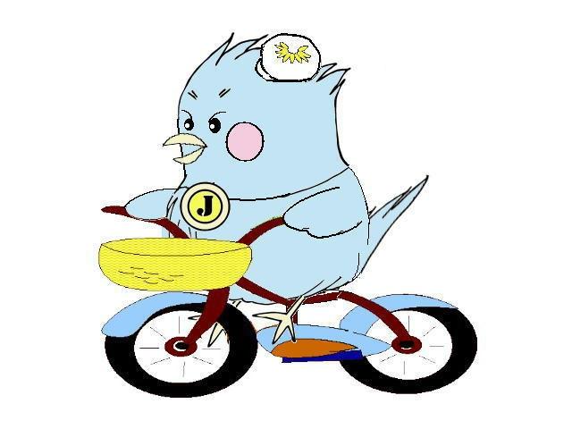 自転車に乗るジョナ